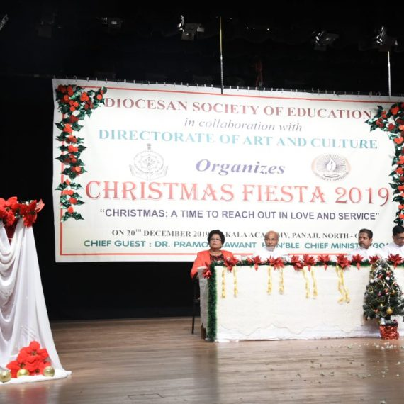 "Chief Minister, Dr. Pramod Sawant Speaking at the ""Christmas Fiesta 2019"" at Kala Academy on December 20, 2019. Also seen are Fr. Jesus Rodrigues, Fr. Arnald Pinho, Fr. Zefrino D'souza and others."