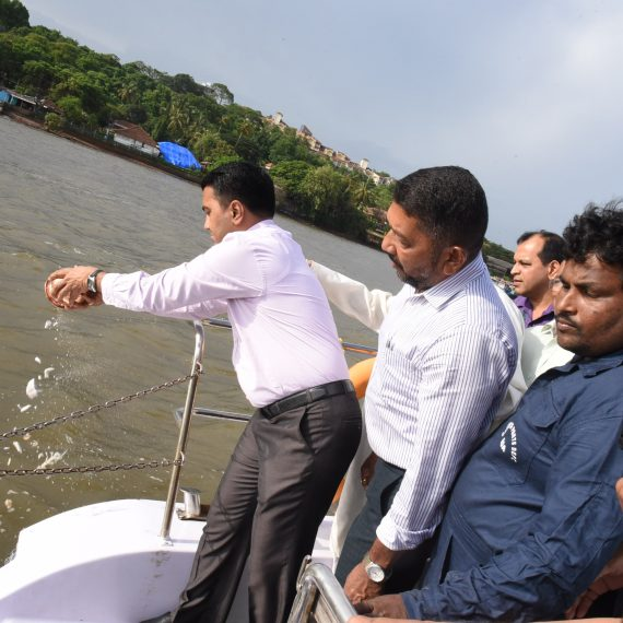 Asthi Kalash of Late Veteran Freedom, Fighter Padmashri Mohan Ranade immersed in Mandovi River on July 3, 2019.