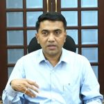 Chief Minister, Dr. Pramod Sawant is seen briefing the Press on April 4, 2020.