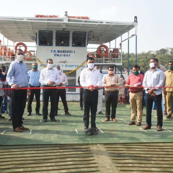 Chief Minister, Dr. Pramod Sawant Commissioning New Ferryboat Mandovi-1 (PNJ-841) at Panaji Ramp on May 27, 2019. Minister for River Navigation Shri Milind Naik, Captain of Port, Capt James Braganza is also seen.