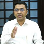 Chief Minister, Dr. Pramod Sawant briefing the Press at his Official residence, Altinho, Panaji on April 3, 2020.
