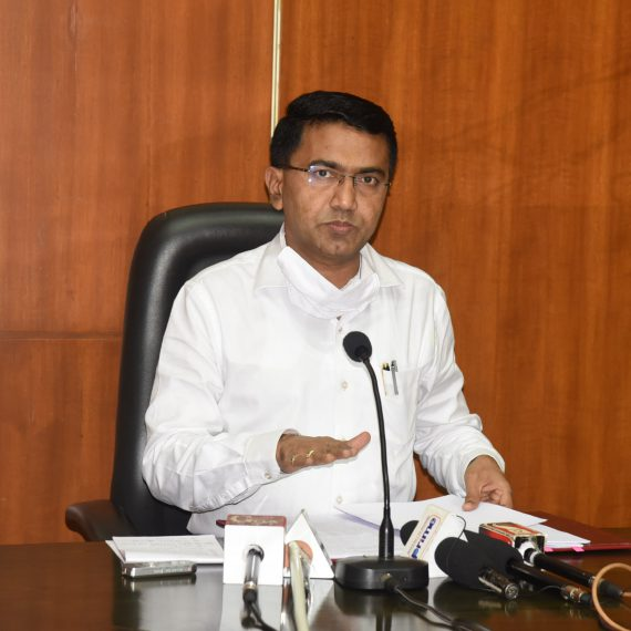 Chief Minister, Dr. Pramod Sawant briefing the Print & Visual Media persons during the Press-conference at Porvorim on June 10, 2020