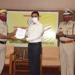 Chief Minister, Dr. Pramod Sawant Presenting Annual Commendation Awards 2019-20 to the Fire Personnel at IMB Hall Panaji on May 29, 2020. Director of Fire & Emergency Services, Shri Ashok Menon is also seen