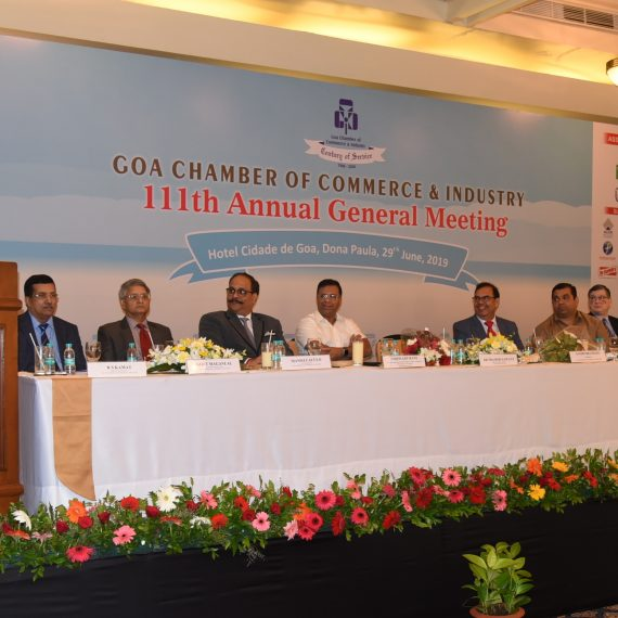 Chief Minister attends 111th Annual General meeting of Goa Chamber of Commerce & Industry at Donapaula on June 29, 2019.