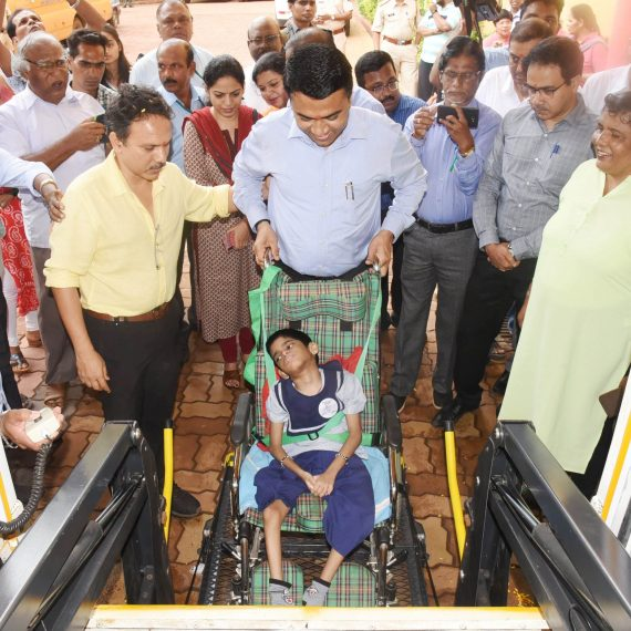Chief Minister inaugurated Wheel Chair Lift accessible School Bus for Special Children at Sanjay School, Porvorim June 25, 2019.