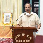 "Chief Secretary, Shri Parimal Rai, IAS administering the ""Anti – Terrorism Day"" Pledge on the occasion of 29th death anniversary of late Rajiv Gandhi, former Prime Minister of India, observed at Secretariat, Porvorim on May 21, 2020"
