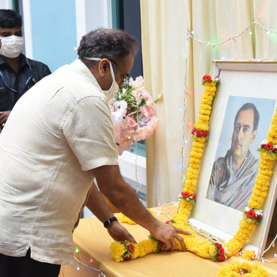 Chief Secretary, Shri Parimal Rai, IAS paying floral tributes to late Rajiv Gandhi, former Prime Minister of India at his portrait on the occasion of his 29th death anniversary observed as Anti-Terrorism Day at Secretariat, Porvorim on May 21, 2020