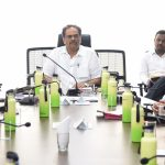 Chief Secretary, Shri Parimal Rai seen discussing at the State Executive Committee meeting convened to review the COVID – 19 situation in Goa on April 13, 2020.
