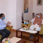 Information Officer of DIP Shri John Aguiar, called on Hon'ble Governor of Goa, Shri Satya Pal Malik at Raj Bhavan today, June 27, 2020. During his courtesy visit Shri Aguiar presented his books to the Hon'ble Governor. Shri Aguiar is retiring from service on June 30, 2020.