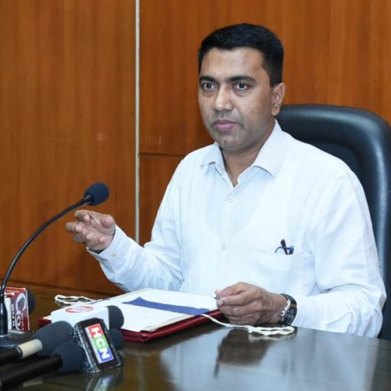Chief Minister, Dr. Pramod Sawant briefing the Print & Visual media persons during the Press-conference at Porvorim on November 6, 2019.