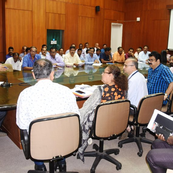 Chief Minister, Dr. Pramod Sawant discussing during the review meeting with the official of Electricity Department at Porvorim on August 26, 2019.
