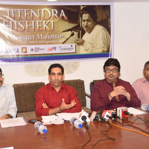 Minister for Art & Culture, Shri Govind Gaude briefing the Print & Visual media persons regarding the 15th Pandit Jitendra Abhisheki Music Festival 2019 to be held at Rajiv Gandhi Kala Mandir, Ponda on Sept. 14 & 15, 2019 during the Press-conference at Kala Academy, Campal on August 19, 2019. also seen are Shri S. Abhisheki and others.