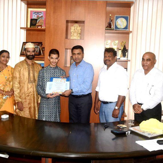 Chief Minister presented a Certificate of Appreciation to Master Priyavrata Devadatta Patil at Porvorim on Sept. 25, 2019.