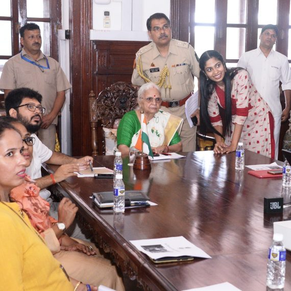 Governor of Goa, Dr. (Smt.) Mridula Sinha Launching the ePass System at Raj Bhavan, Donapaula on August 26, 2019. Also seen are Secretary to Governor, Shri Rupesh Kumar Thakur-IAS, CEO GEL, Ms. Revati Majumdar, and others.