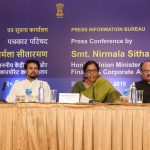 Union Minister for Finance, Smt. Nirmala Sitharaman briefing the Print and Visual Media officials at a Press-conference held at Old Goa on September 20, 2019. Also seen are Union Minister of State for Finance, Shri Anurag Singh Thakur and Secretary for Revenue, Govt of India, Shri Ajay Bhushan Pandey.