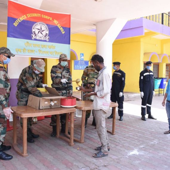 DSC JAWANS FROM INS HANSA PROVIDE FOOD FOR THE NEEDY