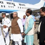 Vice President of India was received by the Governor of Goa on his arrival at Dabolim Airport on Feb. 24, 2020.