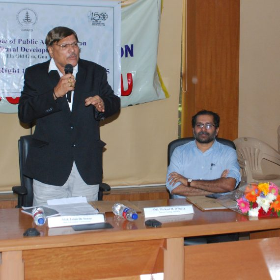 State Information Commissioner, Shri Juino de Souza delivered a lecture during the programme on 'Right to Information Act 2005' organised by Goa Institute of Public Administration & Rural Development (GIPARD) at Education Department hall, Porvorim on August 28, 2019. Also present were Director General of GIPARD, Shri P. Mathew Samuel – IAS, Director – Training GIPARD, Shri Michael M.D' Souza and Asst Director – GIPARD, Dr. Seema Fernandes.