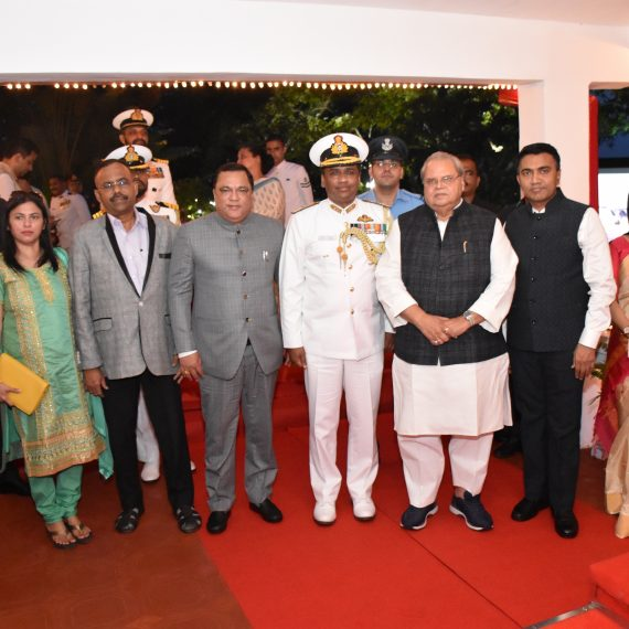 Governor of Goa, Shri Satya Pal Malik and Chief Minister, Dr. Pramad Sawant attended the 'Navy Day' function at Navy House, INS Gomantak Vasco on December 4, 2019. Also present were Transport Minister, Shri Mauvin Godinho, MLA, Shri Carlos Almeida, Flag Officer Commanding Goa Area Rear and Flag Officer Naval Aviation Admiral Philipose George Pynumootil, Smt. Sulakshana Sawant and Jennifer Almeida.