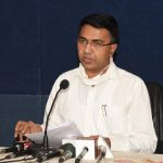 Chief Minister, Dr. Pramod Sawant seen briefing the Print and Visual Media persons during the Press-conference at Secretariat, Porvorim on May, 13, 2020.