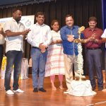 """Transport Minister, Shri Mauvin Godinho seen lighting the traditional lamp to mark the inauguration of 9th State Road Safety Week - 2019, from 17th to 23rd Sept. 2019 """" Drive Safe, Be Safe"""" organized by Directorate of Transport at Ravindra Bhavan, Baina, Vasco, on September 17, 2019."""