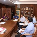 Chief Minister, Dr. Pramod Sawant in the presence of Union Minister of Women & Child Development, Smt. Smruti Irani and Health Minister, Shri Vishwajit Rane discussing at a meeting on Status of Women & Child in Goa - in the backdrop of POSHAN Abhiyaan at Assembly Complex, Porvorim on August 9, 2019.