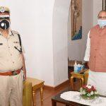 Director General of Police, ( Goa Police ), Shri Mukesh Kumar Meena, IPS called on Governor of Goa, Shri Satya Pal Malik during his courtesy visit at Raj Bhavan, Donapaula on July 6, 2020.