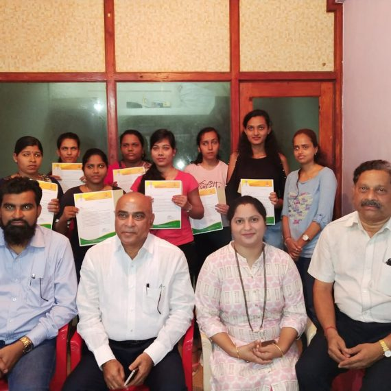 Group Photo Shows Dy. Chief Minister, Shri Manohar (Babu) Ajgaonkar with the beneficiaries of Ladli Laxmi Scheme after distributing the sanction orders to them at a function held at Pernem on September 7, 2019.