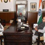 Governor of Goa, Shri Satya Pal Malik interacting with the Executive Trustee of Shri J.P. Mathur Charitable Trust, Shri Kunwar Shekhar Vijendra during his courtesy visit at Raj Bhavan, Donapaula on November 29, 2019.