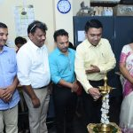 Chief Minister lighting the ceremonial lamp to mark the inauguration of Blood Donation Camp at Sanjay Centre for Special Education, Porvorim on Dec.4, 2019