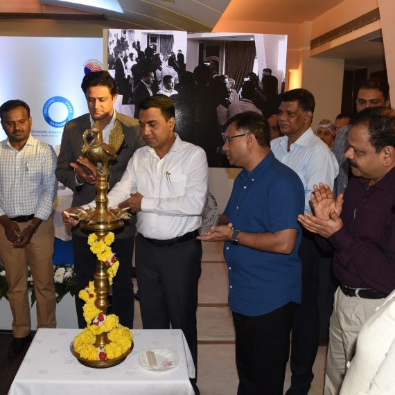 Chief Minister, Dr. Pramod Sawant in the presence of Health Minister, Shri Vishwajit Rane and Brand Ambassador of Novo Nordisk, Shri Anil Kumble launched the Goa Diabetes Registry Programme at Panaji on August 9, 2019. Also present were Health Secretary, Shri Ashok Kumar, Director of Health Services, Dr. Jose D' Sa, Dean of GMC-H, Dr. Shivanand Bandekar, Managing Trustee-NNEF, Shri Melvin D' Souza, Dean of Goa Dental College & Hospital, Dr. Ida de Noronha de Ataide, Director of Food & Drugs Administration, Smt. Jyoti Sardesai and others.
