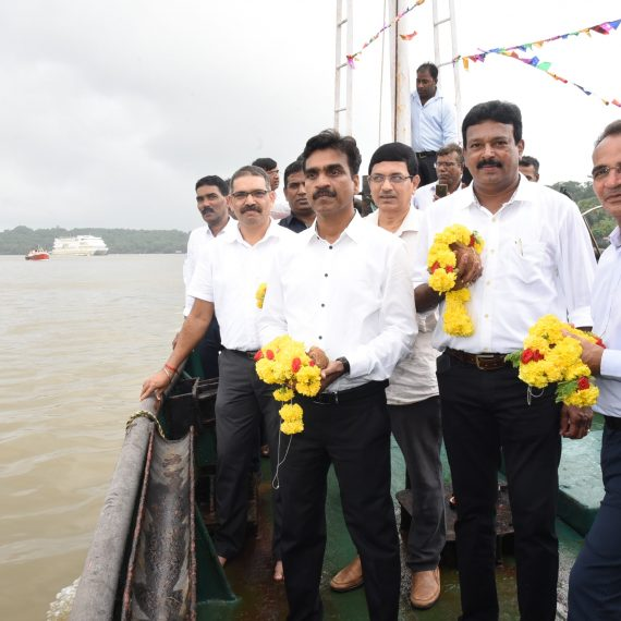 Fisheries Minister attends the Samudra Pooja to mark the fishing season at Mandovi river, Panaji on Aug. 14, 2019.