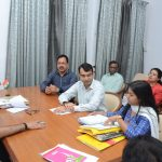 Chief Minister, Dr. Pramod Sawant held a review meeting regarding the Convention Center with officials of IT Department, Department of Information and Publicity, ESG and EDC Ltd. at his Official Residence, Altinho, Panaji on December 10, 2019
