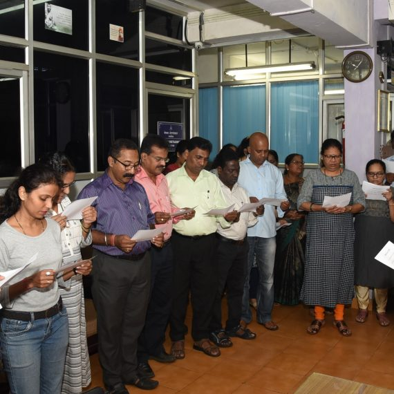 Director of Information & Publicity administered the 'Sadbhavana Day Pledge' at DIP Office, Panaji on Aug. 20, 2019.