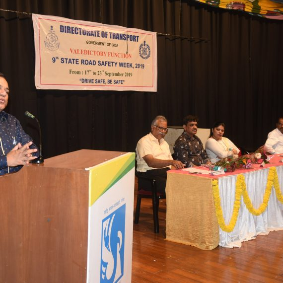 Transport Minister, Shri Mauvin Godinho seen speaking at the Valedictory function of 9th State Road Safety Week - 2019, 'Drive Safe, Be Safe' organized by Directorate of Transport at Ravindra Bhavan, Sankhali, on September 23, 2019. Also seen are Smt. Sulakshana Pramod Sawant, Director of Transport, Shri Rajan Satardekar, Convener of GOACAN, Shri Roland Martins and others.