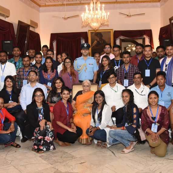 Group Photo shows Governor of Goa, Smt. Mridula Sinha with the Indian Diaspora Youth who are on a 55th Know India Programme-2019, during their courtesy visit at Raj Bhavan, Donapaula on September 12, 2019. Also present were Shri Vinit Kumar, IFS, Liason Officer NRI Cell- KIP-2019, Shri Nilesh Kamat and Stephen Soares and others.