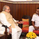 Governor of Goa, Shri Satya Pal Malik interacting with Rear. Admiral, Philipose George Pynumootil NM, FOGA during his courtesy visit at Raj Bhavan, Donapaula on November 26, 2019.