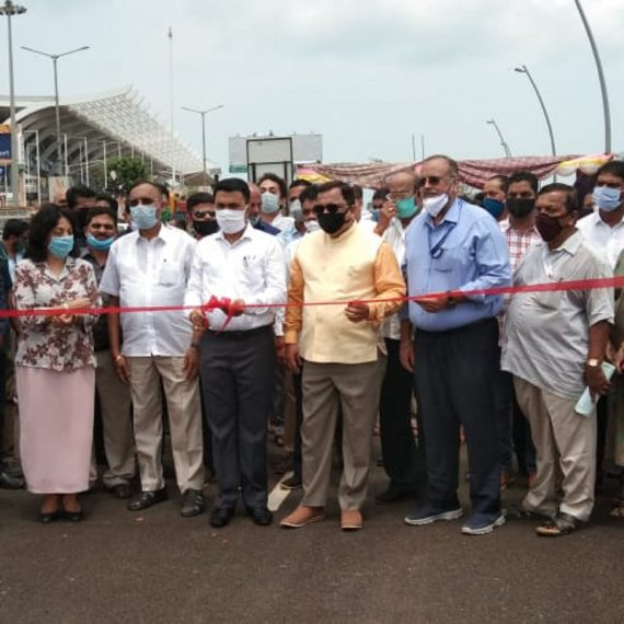 "Chief Minister, Dr. Pramod Sawant Inaugurating ""Grade Separator at Dabolim Airport on May 26, 2020. Also seen are Minister for Transport, Shri Mauvin Godihno, MLA's Smt. Alina Saldanha, Shri Jose Luis Carlos Almeida, Shri Joshua Peter De Souza and others"