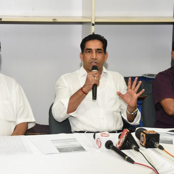 Press-conference by Minister for Art & Culture at Patto Panaji on Jun. 19, 2019.