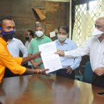 Deputy Chief Minister,Shri Manohar Ajgaonkar handed over plot allotment orders to 14 families affected due to the International Mopa Airport project at Pernem today.