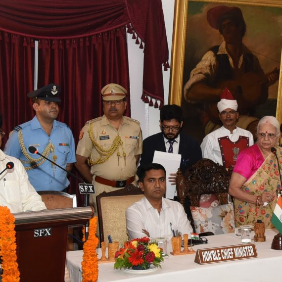 Swearing in ceremony of new Cabinet Minister by Governor of Goa at Raj Bhavan, Donapaula on Jul. 13, 2019.