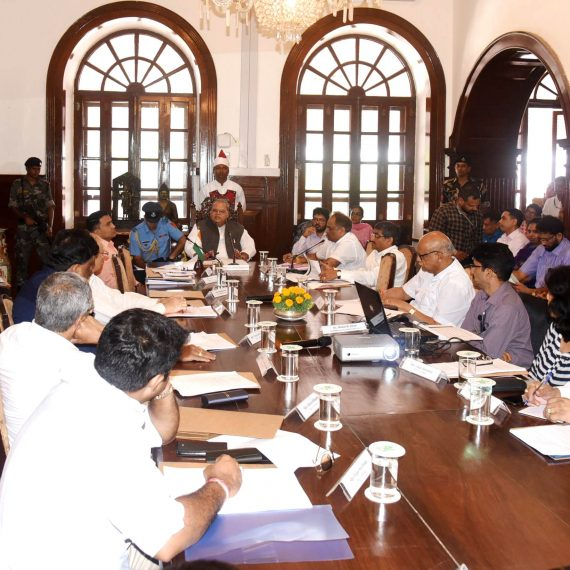 Governor of Goa, Shri Satya Pal Malik in the presence of Chief Minister, Dr. Pramod Sawant seen discussing at the 23rd meeting of the Goa State Environment Protection Council at Raj Bhavan, Donapaula on December 23, 2019. Also seen are Leader of opposition, Shri Digamber Kamat, Cabinet Ministers, MLA's, Chief Secretary Shri Parimal Rai-IAS, Secretary for Governor, Shri Rupesh Kumar Thakur-IAS and others