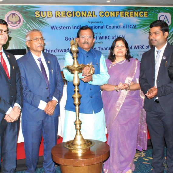 Union Minister of State (IC) for AYUSH, Shri Shripad Naik inaugurating Sub Regional Conference of Chartered Accountants at Campal-Panaji on November 08, 2019.