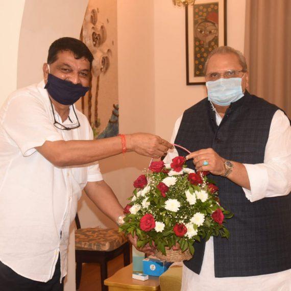 Governor of Goa, Shri Satya Pal Malik interacted with the Speaker of Goa Legislative Assembly Shri. Rajesh Patnekar during his Courtesy visit at Raj Bhavan, Dona Paula on June 23, 2020.