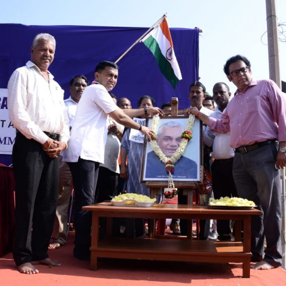 Chief Minister Dr. Pramod Sawant is seen garlanding the photo of late Prime Minister Shri. Atal Bihari Vajpai on his birth Anniversary. MLA Mayem Shri. Pravin Zantye is also seen