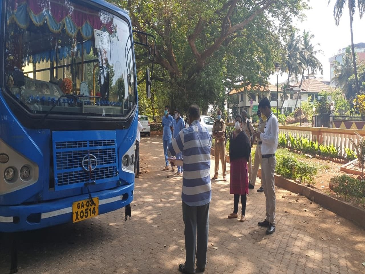Collector North Goa, inspecting & sending off the bus loaded with Essentials for the needy