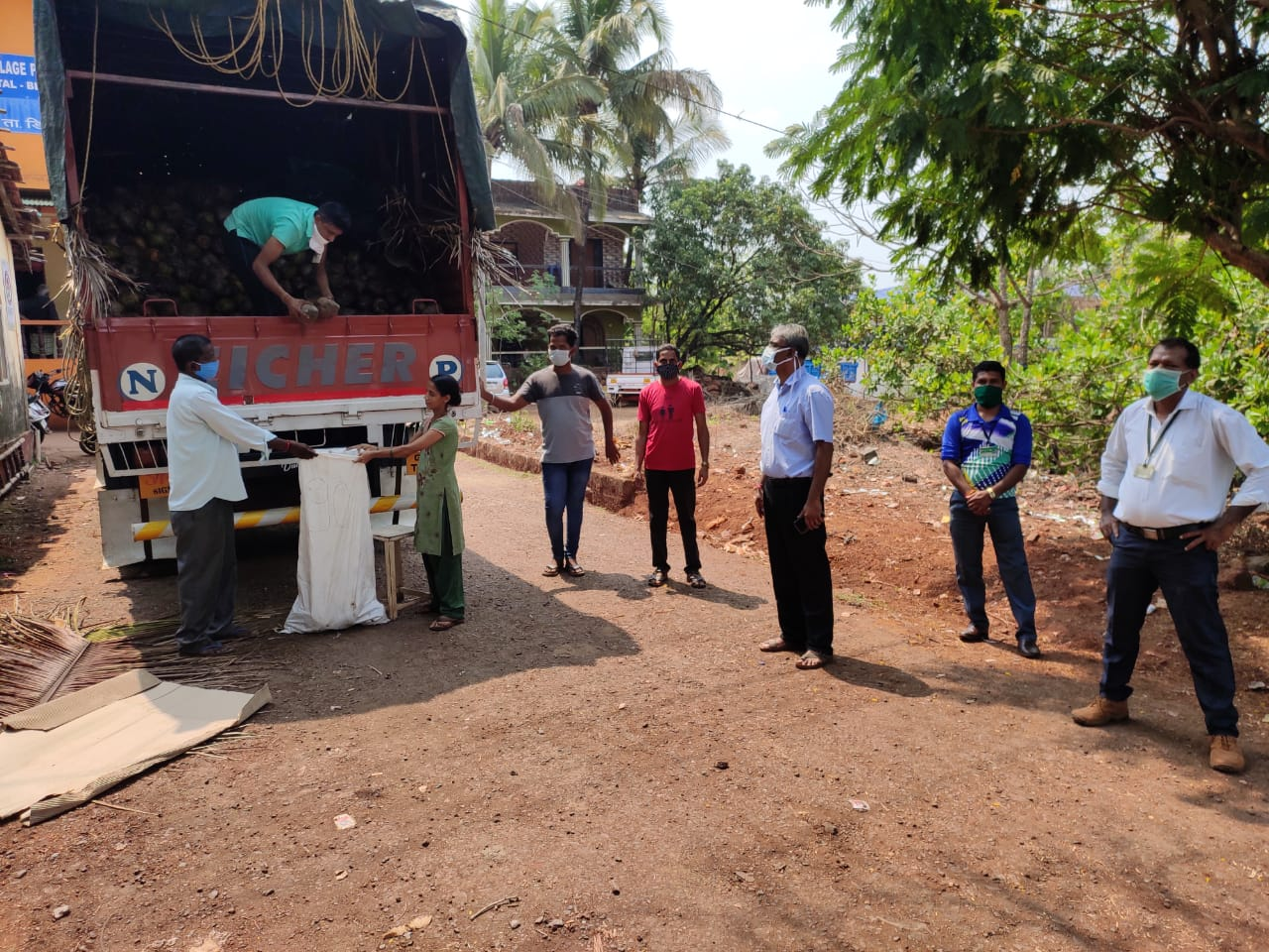 Horticulture Mobile Van selling local coconuts at Kudnem, Bicholim. Around 10,000/- coconuts were procured from local farmers by Canacona Zone