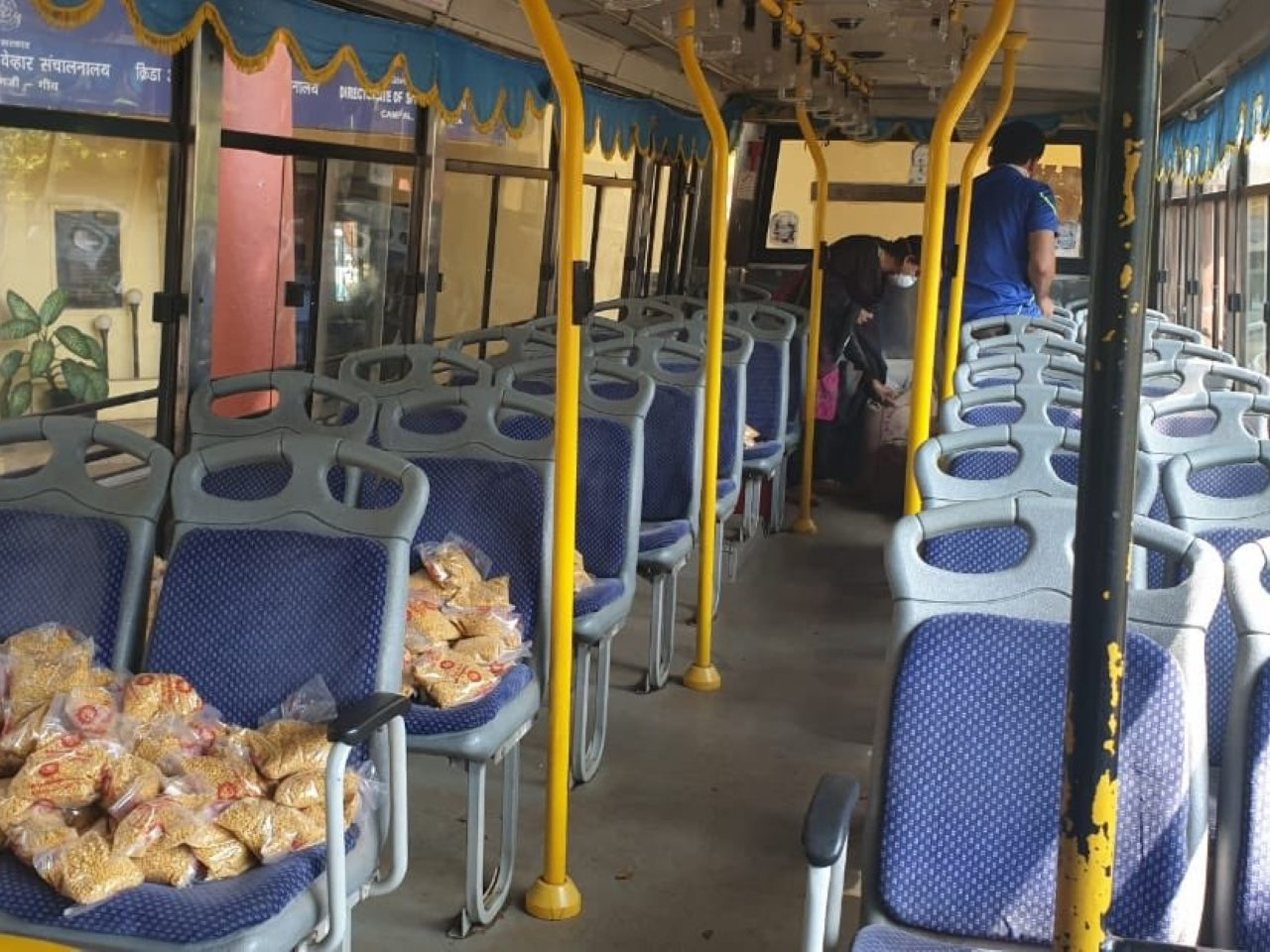 Bus loaded with essentials for the needy