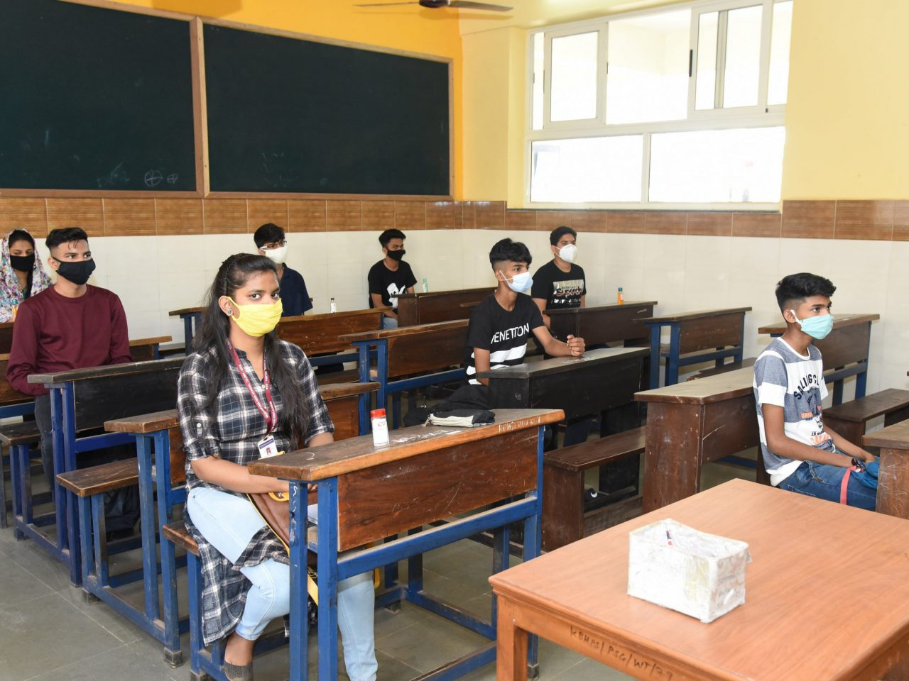 Maintaining social distancing during the first day of SSC examination at the examination centre at Cujira – Bambolim on May 21, 2020