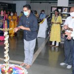 Art & Culture Minister, Shri Govind Gaude lighting the traditional Lamp to launch the e- Exhibition of books on Lokmanya Tilak on the occasion of his centenary death anniversary by Krishnadas Shama Goa State Central Library at Dte. of Art & Culture, Patto, Panaji on July 31, 2020.